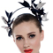 Fashion hat Navy and Silver Artemis Leather Headpiece, a design by Melbourne milliner Louise Macdonald