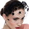 Fashion hat Black Floral Birdcage Veil, a design by Melbourne milliner Louise Macdonald