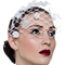 Fashion hat White Floral Birdcage Veil, a design by Melbourne milliner Louise Macdonald