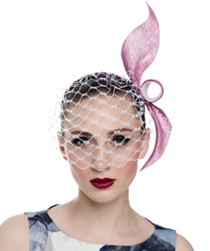 Fashion hat Pink and White Birdcage Veil, a design by Melbourne milliner Louise Macdonald
