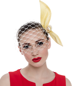 Fashion hat Yellow and White Birdcage Veil, a design by Melbourne milliner Louise Macdonald