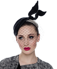 Fashion hat Coco Headpiece (with veil), a design by Melbourne milliner Louise Macdonald