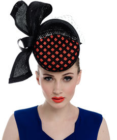 Fashion hat Orange and Black Felicitie Headpiece, a design by Melbourne milliner Louise Macdonald
