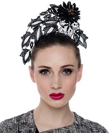 Fashion hat Black Lace Tiara, a design by Melbourne milliner Louise Macdonald