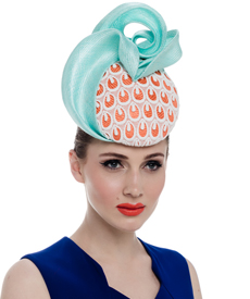 Fashion hat Mahe Headpiece in Orange and Turquoise, a design by Melbourne milliner Louise Macdonald