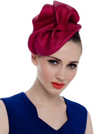 Fashion hat Sega Headpiece in Magenta, a design by Melbourne milliner Louise Macdonald
