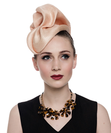Fashion hat Sega Headpiece in Nude, a design by Melbourne milliner Louise Macdonald