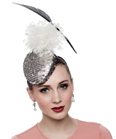 Fashion hat Pewter Sequin Headpiece, a design by Melbourne milliner Louise Macdonald