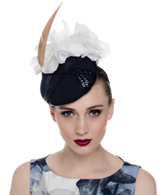 Fashion hat Navy and White Sheila Beret, a design by Melbourne milliner Louise Macdonald