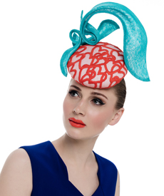 Fashion hat Silhouette in Turquoise and Orange, a design by Melbourne milliner Louise Macdonald