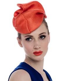 Fashion hat Orange Tango Headpiece, a design by Melbourne milliner Louise Macdonald