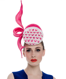 Fashion hat Tinge Headpiece in Bright Pink and White, a design by Melbourne milliner Louise Macdonald