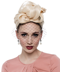 Fashion hat Turban for Abby (with veil), a design by Melbourne milliner Louise Macdonald