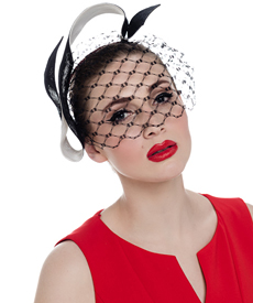 Fashion hat Black and White Wren Birdcage Veil, a design by Melbourne milliner Louise Macdonald