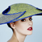 Fashion hat Isobel in Cobalt and Lime, a design by Melbourne milliner Louise Macdonald