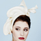 Fashion hat Sasheer Headpiece in Cream, a design by Melbourne milliner Louise Macdonald