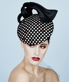 Fashion hat Black and Ivory Shavon, a design by Melbourne milliner Louise Macdonald