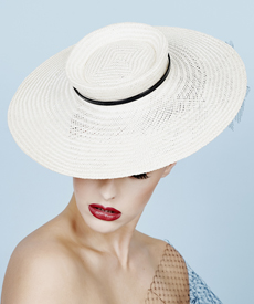 Fashion hat Cream and Black Tamika, a design by Melbourne milliner Louise Macdonald