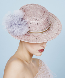 Fashion hat Dusty Pink Clarice Boater, a design by Melbourne milliner Louise Macdonald