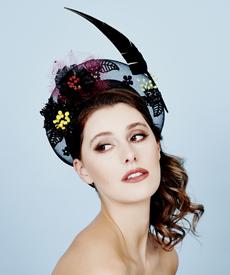 Fashion hat Headra Headpiece in Black, a design by Melbourne milliner Louise Macdonald