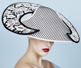 Fashion hat Isobel in Black and White, a design by Melbourne milliner Louise Macdonald