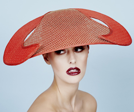 Fashion hat Isobel in Red and Gold, a design by Melbourne milliner Louise Macdonald