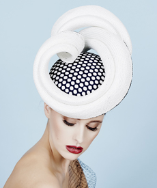 Fashion hat Masonaba in White and Navy, a design by Melbourne milliner Louise Macdonald