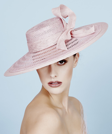 Fashion hat Paige in Dusty Pink, a design by Melbourne milliner Louise Macdonald