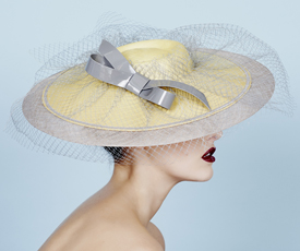 Fashion hat Xaranda in Yellow and Grey, a design by Melbourne milliner Louise Macdonald