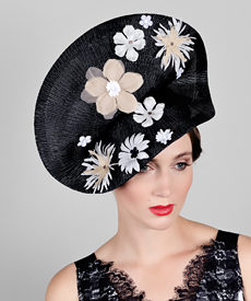 Fashion hat Black Madia, a design by Melbourne milliner Louise Macdonald
