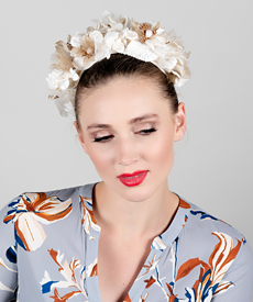 Fashion hat Celeste Floral Halo, a design by Melbourne milliner Louise Macdonald
