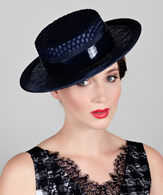 Melbourne Spring Racing - Louise Macdonald Milliner - Navy Boater 67b8bf71e2f