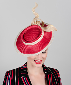 Fashion hat Red and Gold Cosmos, a design by Melbourne milliner Louise Macdonald