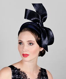 Fashion hat Vanessa (Navy), a design by Melbourne milliner Louise Macdonald