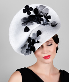 Fashion hat White Madia, a design by Melbourne milliner Louise Macdonald