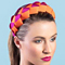 Fashion hat Lula Bandeau in Magenta and Orange, a design by Melbourne milliner Louise Macdonald