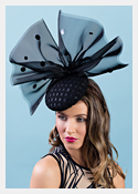 Fashion hat Betsy Bow in Black, a design by Melbourne milliner Louise Macdonald