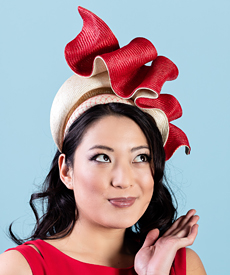 Fashion hat Josephine in Red and Natural, a design by Melbourne milliner Louise Macdonald
