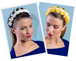 Melbourne milliner Louise Macdonald's Lula Bandeau in Black and White (with detachable veil) and Lula Bandeau in Yellow and White