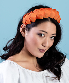 Fashion hat Lula Bandeau in Orange, a design by Melbourne milliner Louise Macdonald