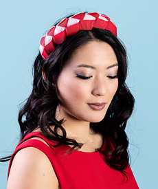 Fashion hat Lula Bandeau in Red and Pink, a design by Melbourne milliner Louise Macdonald