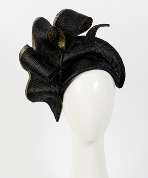 Fashion hat Black and Gold Josephine, a design by Melbourne milliner Louise Macdonald