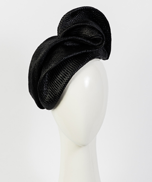 Fashion hat Black Sega, a design by Melbourne milliner Louise Macdonald