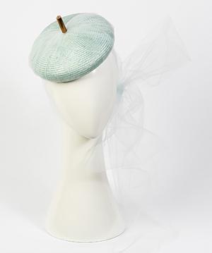 Fashion hat Carlotta Beret in Pale Blue, a design by Melbourne milliner Louise Macdonald