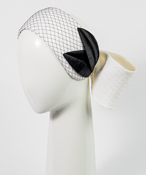 Fashion hat Chiara Bow with Vintage Leaves, a design by Melbourne milliner Louise Macdonald