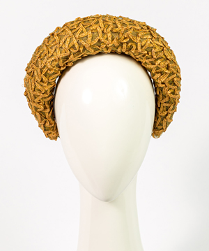 Fashion hat Elodie Halo in Natural Vintage Braid, a design by Melbourne milliner Louise Macdonald