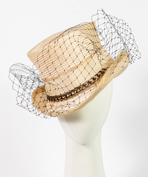 Fashion hat Giddy Up Riding Hat in Natural, a design by Melbourne milliner Louise Macdonald