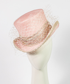 Fashion hat Giddy Up Riding Hat in Pink, a design by Melbourne milliner Louise Macdonald