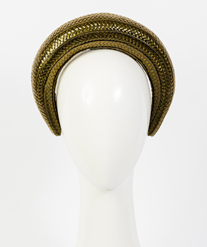 Fashion hat Milano in Olive Gloss Braid, a design by Melbourne milliner Louise Macdonald