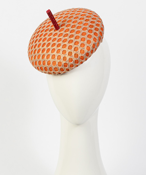 Fashion hat Orange and Gold Bergamo, a design by Melbourne milliner Louise Macdonald